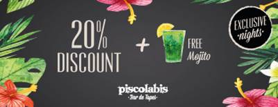 Live nights at Piscolabis and get a 20% discount and a FREE MOJITO!